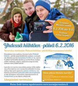 Nurmijärven latu osallistuu Suomen Ladun Yhdessä hiihtäen –päivään järjestäen nuotiopäivän Märkiön laavulla, Kiljavannummen latuverkoston varrella.
